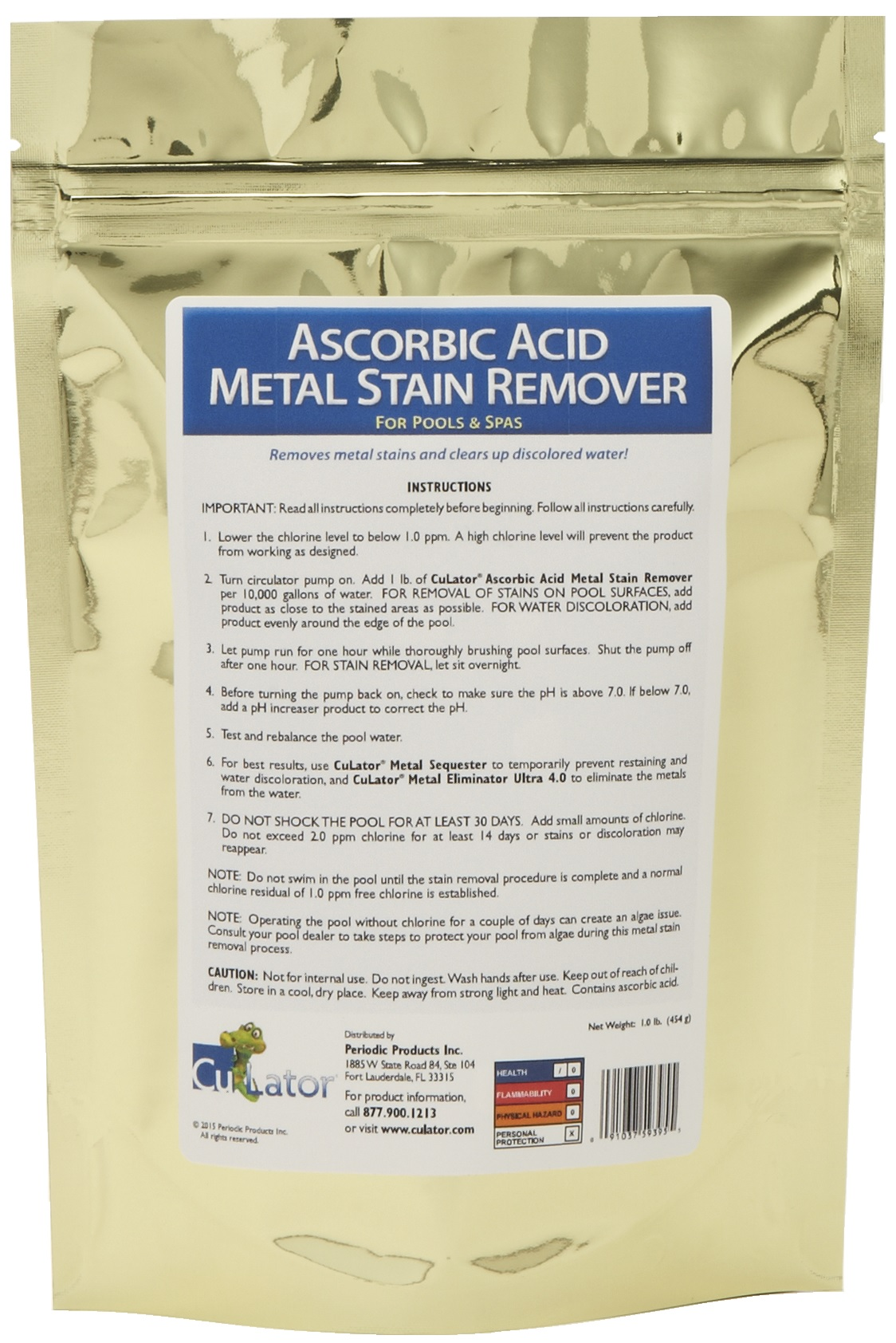 Ascorbic Acid Metal Stain Remover Iron Culator Metal