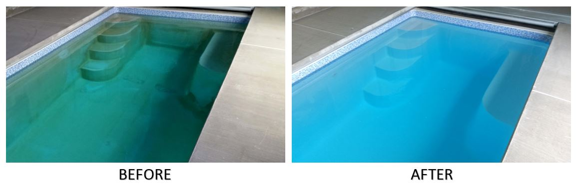 Fiberglass pool treated with NO-DRAIN Metal Stain Eliminator Kit and CuLator Metal Eliminator