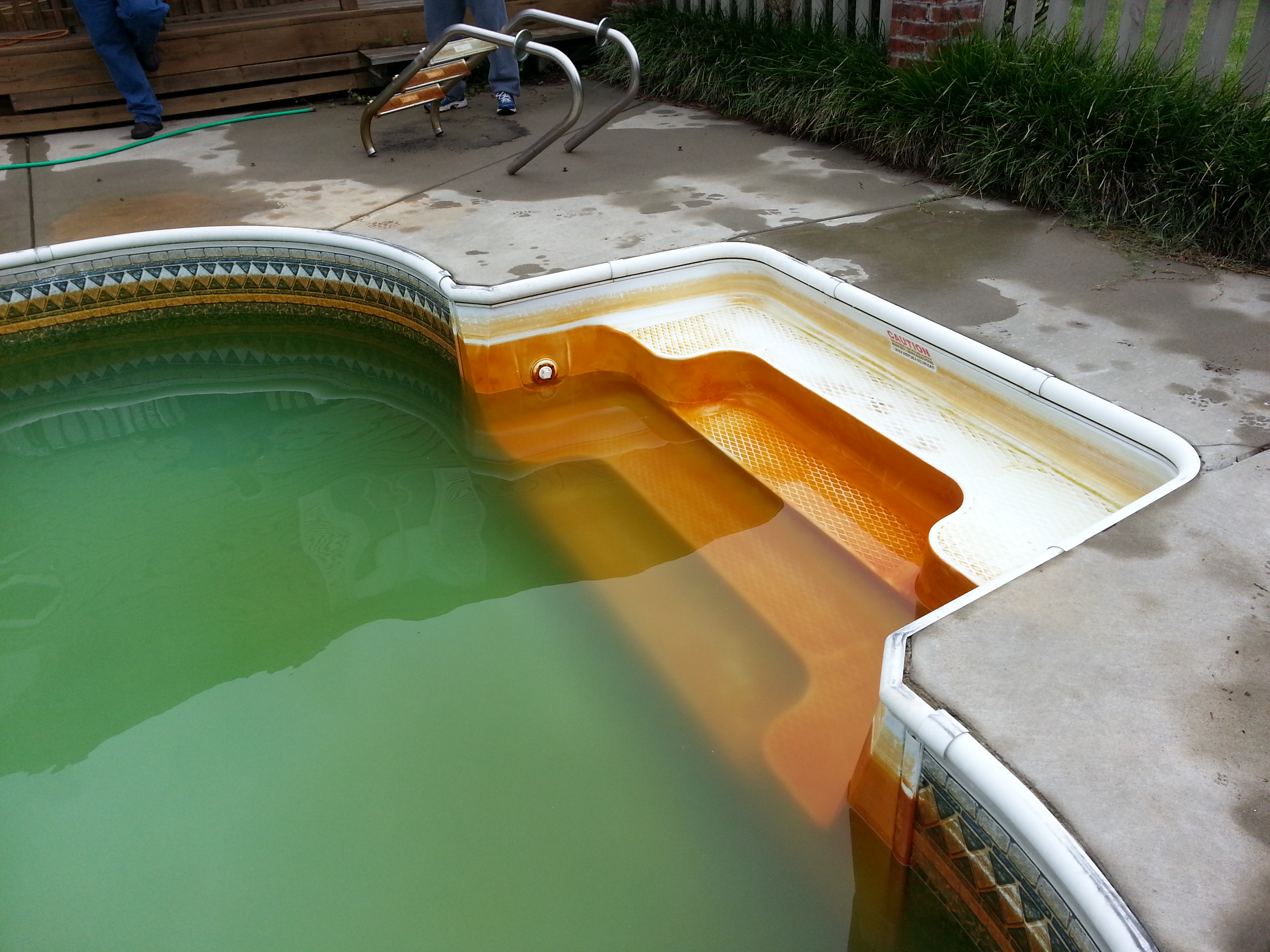 Iron Stains on Fiberglass Pool Stairs