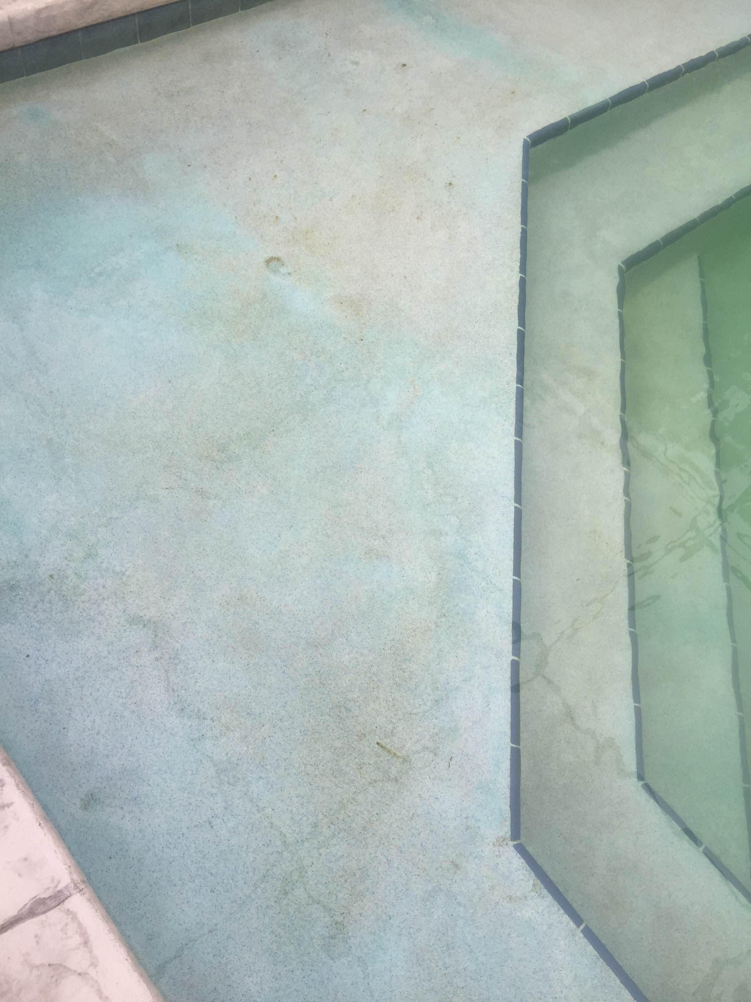 Copper Staining on Swimming Pool Surface