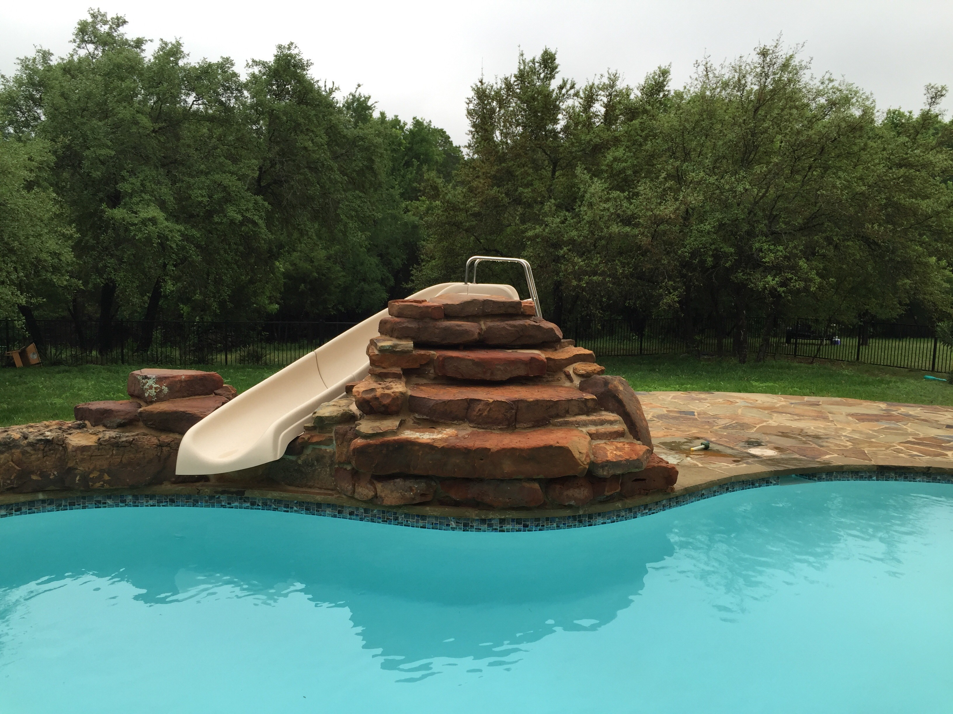 Stone Features Add Metals To Pool And Spa Water Which Stains Fiberglass Surface
