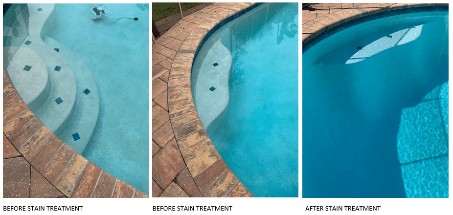 Before and After Metal Stain Eliminator Kit for Pools and Spas
